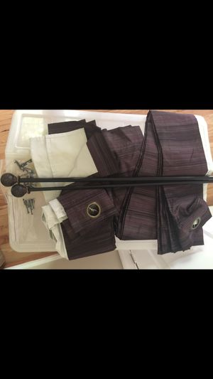 Two beautiful high quality blackout curtains with rod $40 for Sale in Fairfax, VA