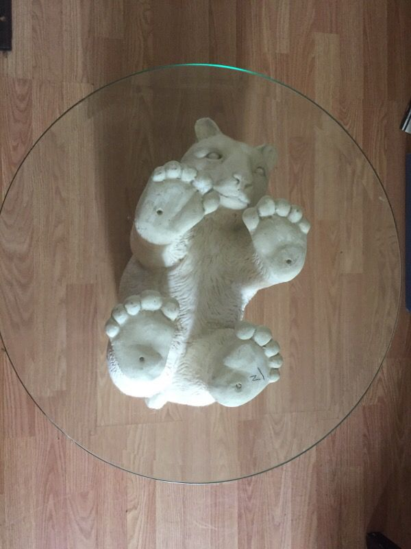 Polar Bear Coffee Table W Glass Top For Sale In San Jose
