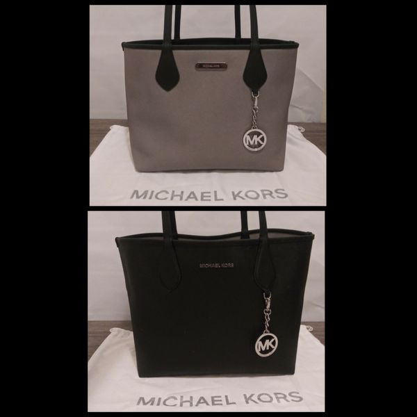 4e9a299306bb Michael Kors Saige BLlack/Pearl Grey Medium Reversible Tote Hand Bag Yes  It's 100%AUTHENTIC👌❗