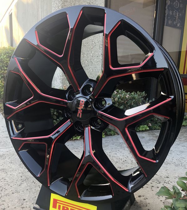 22 24 Snowflake Wheels Black With Red Milling With Tires Chevy