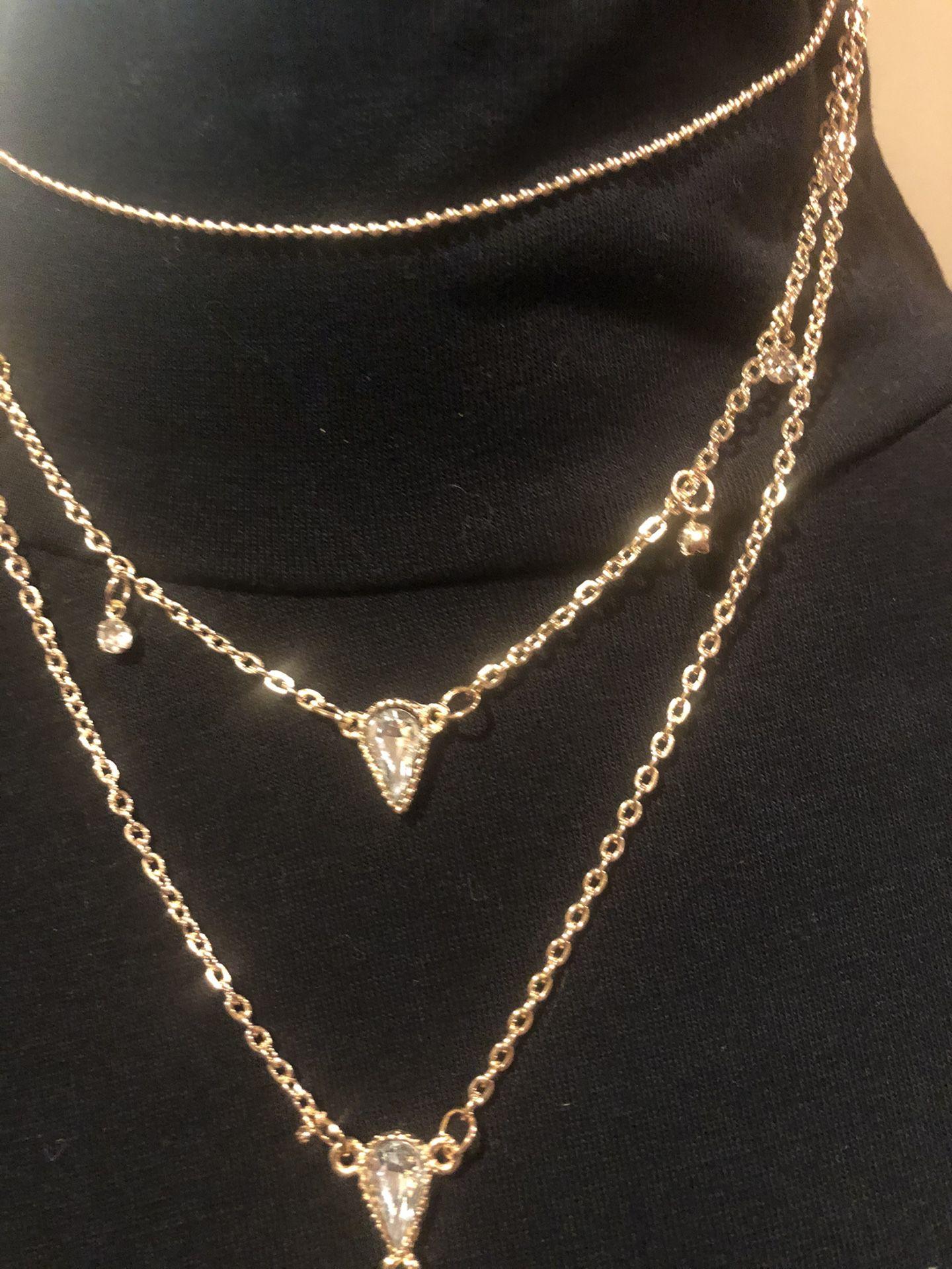 Women's Four-Tier Gold Tone Necklace