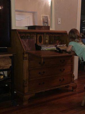 Antique wood desk and detachable hutch for Sale in Orlando, FL