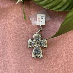 Sterling Silver Murano Cross Thumbnail