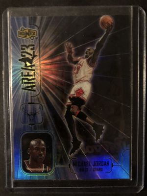 Photo Michael Jordan 1999 Upper Deck IONIX Basketball Card Refractor. Air Jordan Chicago Bulls Basketball Trading Card