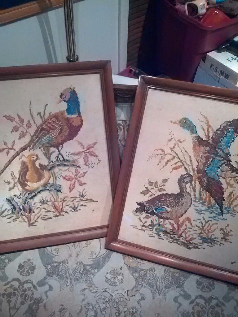mid century pheasant cross stitch art