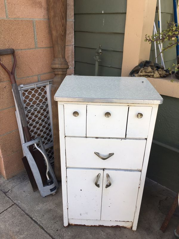 Super Adorable Metal Midcentury Kitchen Cabinet with ...