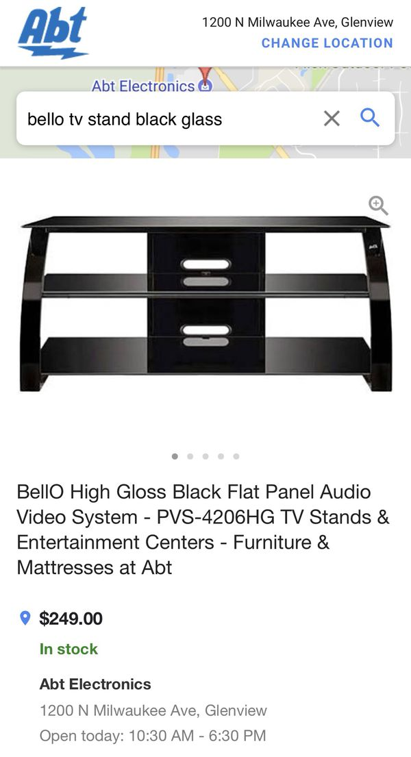 BellO Black Glass TV Stand For Sale In Buffalo Grove IL OfferUp - Abt tv stands