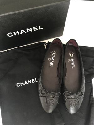 Chanel Authentic Black Quilted Leather Ballerina Flats size 37 for Sale in Fairfax, VA