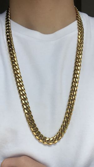 14k gold bonded Miami Cuban necklace and bracelet set for Sale in Silver Spring, MD
