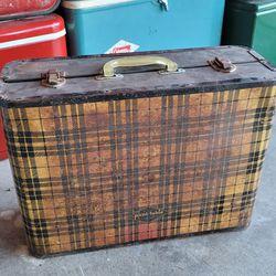 vintage antique folding suitcase luggage plaid picnic picni-table Thumbnail
