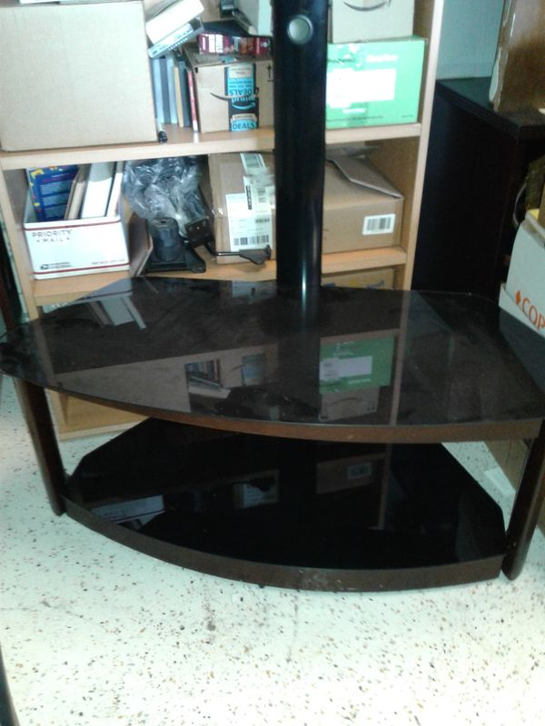 Black Smoked Glass Tv Stand Table With Glass Shelf For Sale In