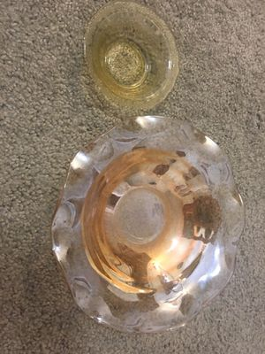 Vintage Carnival Glass Bowl & Small Depression Glass Sugar Bowl for Sale in Alexandria, VA