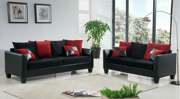 3pc Black Microfiber Sofa Loveseat W Red Blk Pillows Furniture