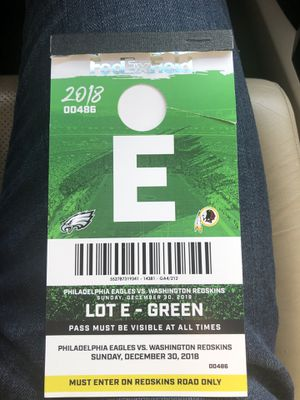Redskins vs Eagles Parking Pass for Sale in Colesville, MD