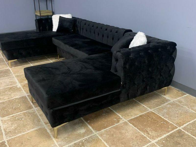 Black Velvet ✴️Double Chaise Sectional