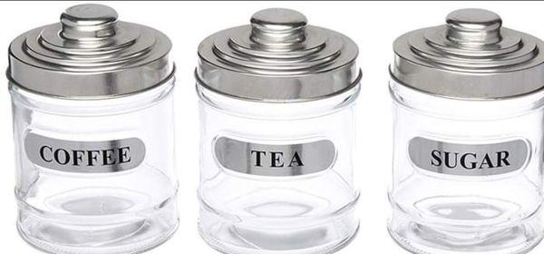 Glass Kitchen Canister Coffee Sugar Storage Jar Kitchen