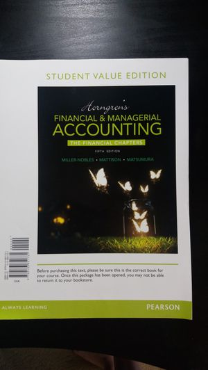 Financial and Managerial Accounting Fifth Edition for Sale in Austin, TX