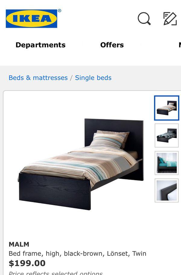 Beautiful IKEA Malm Twin Size Bed Frame W/ FREE Mattres GOOD ...