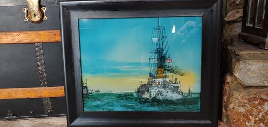 Antique Reverse Painting 16x20 Painting Frame Adds A Few Inches Thumbnail