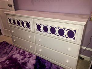 White bedroom set - dresser, sleigh bed (double), nightstand & double mattress & boxspring for Sale in Stone Ridge, VA