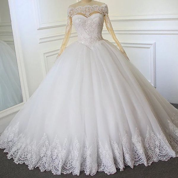 Princess Ball Gown Wedding Dress with Sheer Long Sleeves for Sale in ...