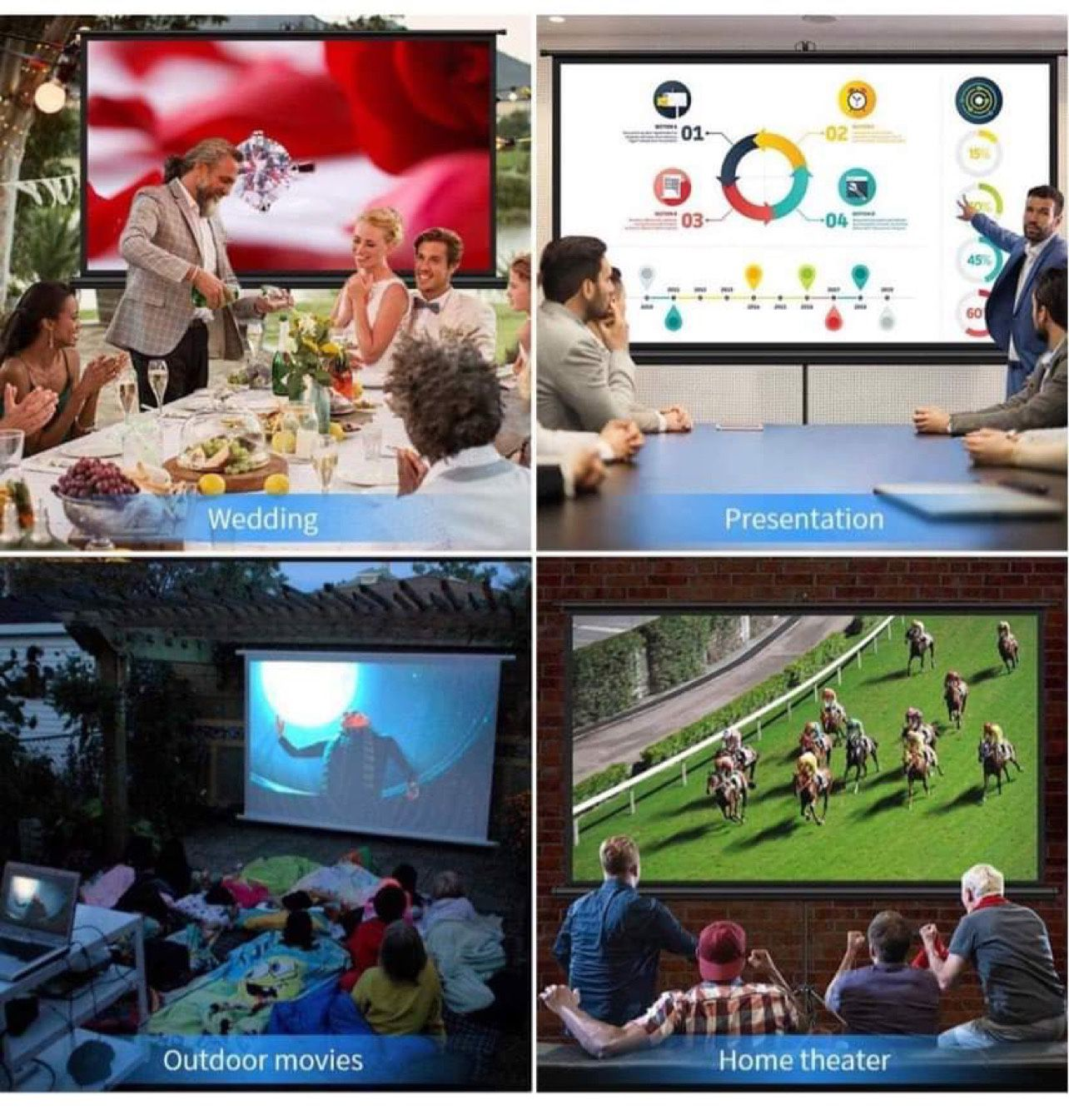 Projector Screen with Stand, Indoor Outdoor PVC Projection Screen 4K HD 100'' 16: 9 Wrinkle-Free Design(Easy to Clean, 1.1Gain, 160° Viewing Angle & I