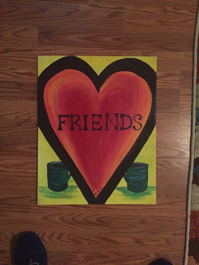 Friends Coffee Acrylic painting