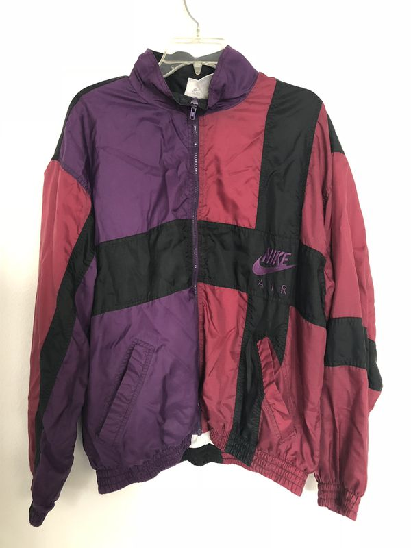 63dac19fc69e Vintage NIKE AIR Windbreaker Men s Large Rare Colors Maroon And Purple