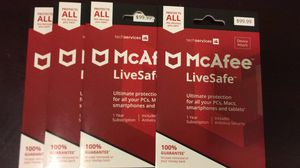 McAfee LiveSafe Virus Protection-UNLIMITED DEVICES for Sale in Downey, CA