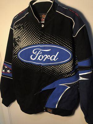 Photo Vintage Ford Racing Men's Snap Jacket black blue large l