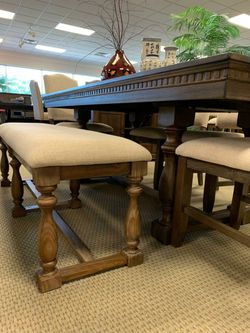 Free, Same Day Delivery, Brand New 5 Piece Brown Dining Room Set, $39 Down Payment  Thumbnail