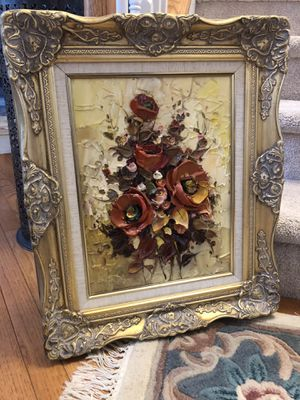"""23""""X19"""" Flower scenes featuring 3D portrait using paint paste for raised petals and stems. created by a Lake Placid NY artist in the 1970's. for Sale in Gainesville, VA"""