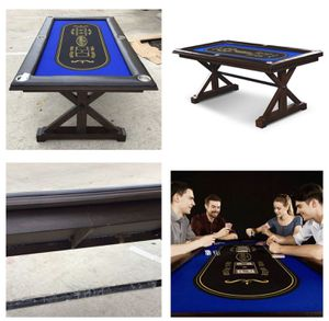 Photo Barrington Premium Solid Wood Poker Table for Board Games, Card Games and Casino Games, Brown/Blue