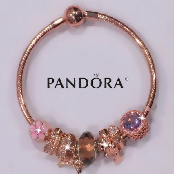 c731f8a226d15 Pandora rose gold bracelet + 6 Pandora rose gold charm beads set for Sale  in San Jose, CA - OfferUp