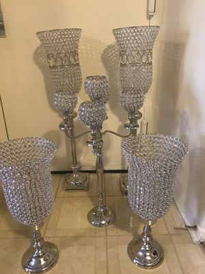 "5 pieces new silver crystal candle holder centerpiece sizes from the back 37"" tall middle 30"" front 22"" click on my profile picture on this page to c for Sale in Montgomery Village, MD"