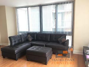 Brand new faux leather sectional sofa with ottoman for Sale in Wheaton, MD