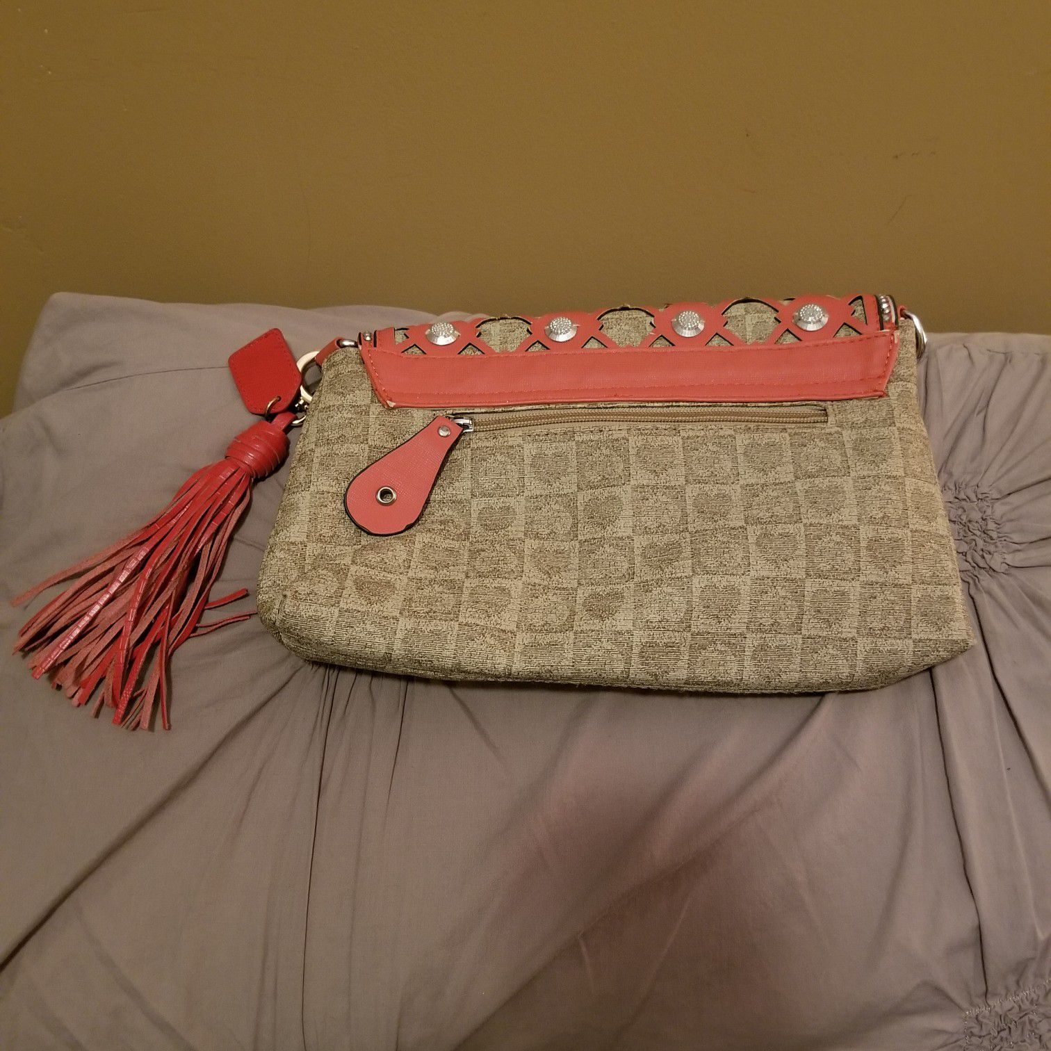 Boutique Coral and Tan Crossbody with studs.
