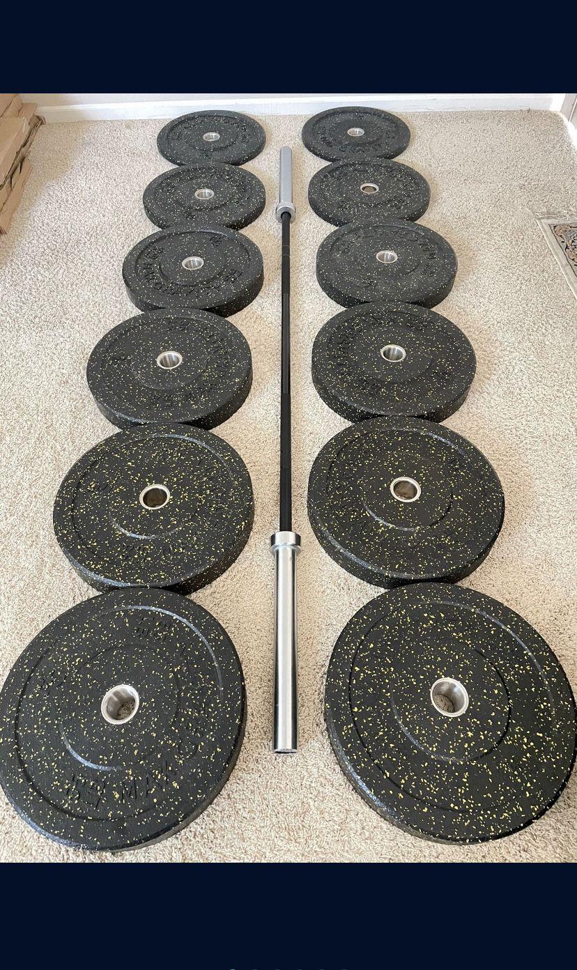 Full Set Bumper Plates + Zinch Olympic Barbell