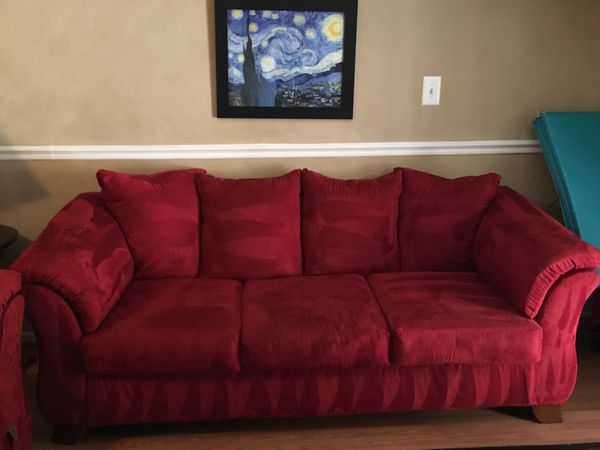 Red sofa, loveseat, ottoman, round side table and lamp for Sale in ...