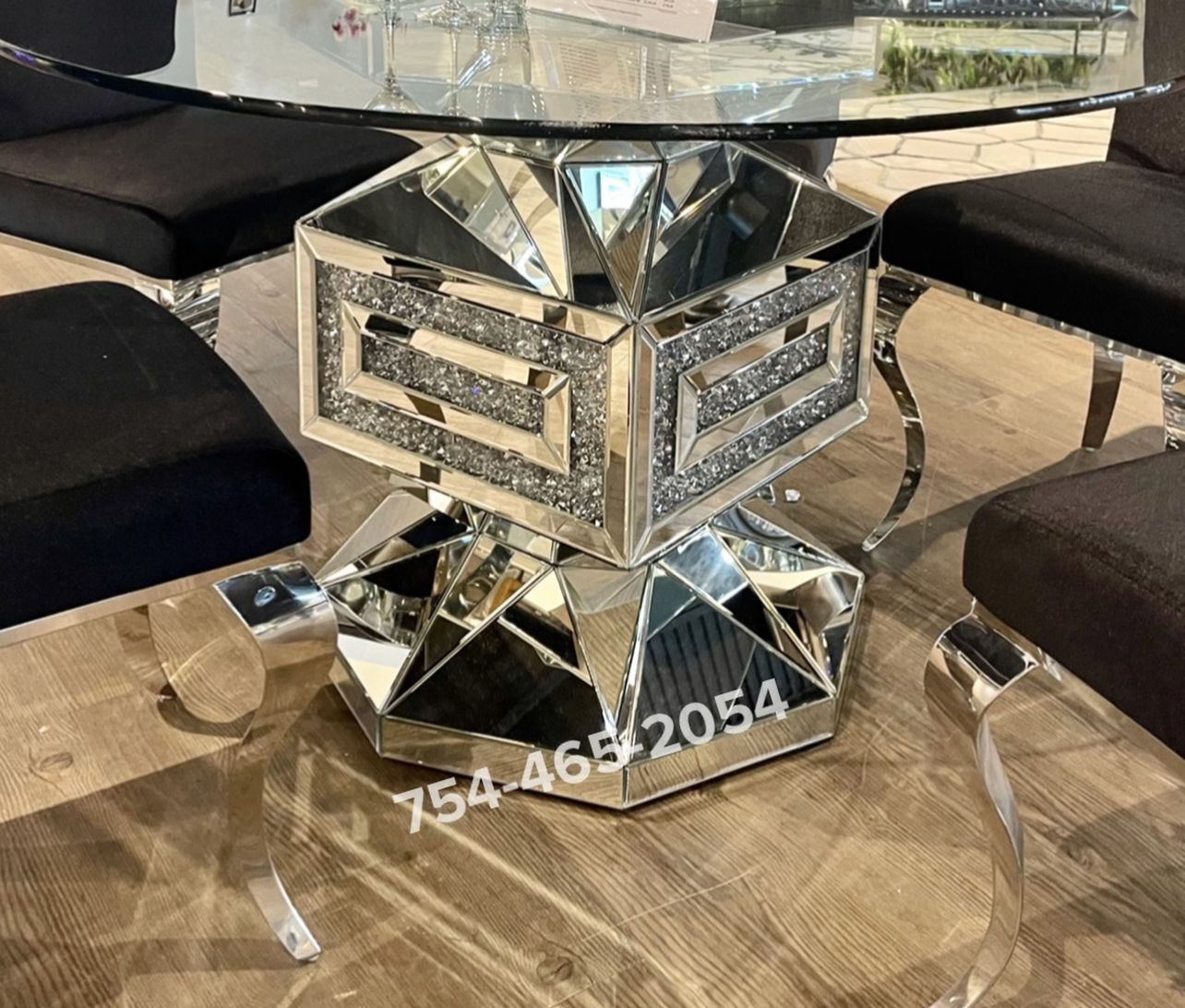 Mirrored Crystal Dinning Table