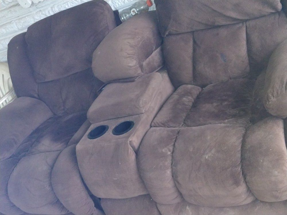 Brown Couch With Cup Holders