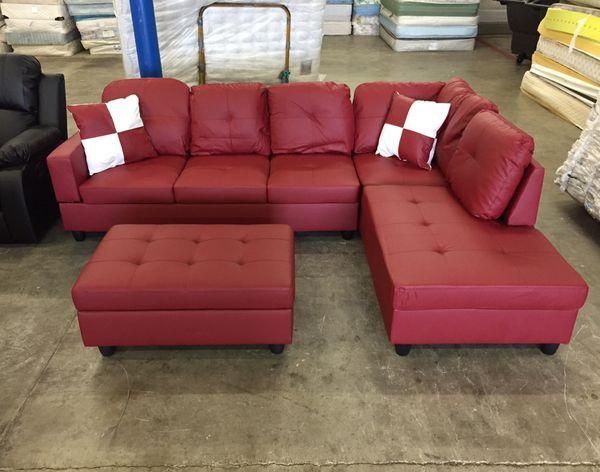 Fabulous Brand New Red Leather Sectional Couch With Storage Ottoman And 2 Free Decorative Pillows Can Deliver Today For Sale In Redmond Wa Offerup Creativecarmelina Interior Chair Design Creativecarmelinacom