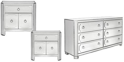 Z Gallerie Simplicity 6 Drawer Mirrored, Z Gallerie Mirrored Dresser