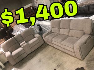 Photo Beautiful new 2 piece power reclining sofa set in Taupe color(1 sofa & 1 loveseat) only 1,400$!!! Original price 4,037$!!! Sale price 2,467$!!!