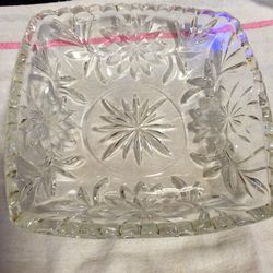 Square cut leaded glass square candy dish Thumbnail