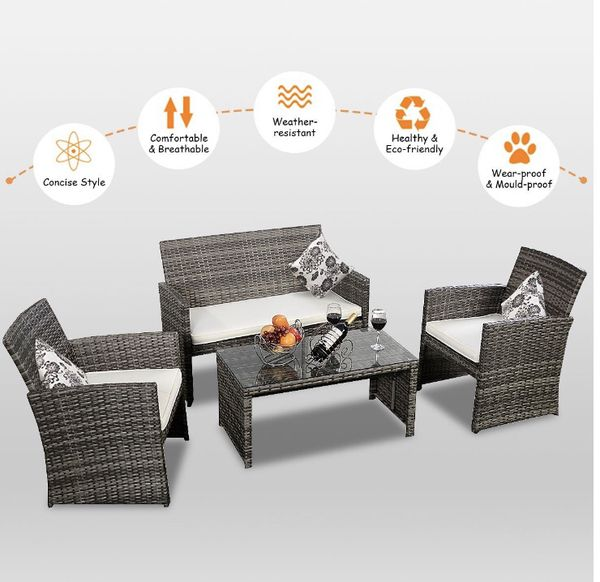 Never Opened 4 PC Grey Wicker Patio Furniture Set for Sale in Surprise, AZ  - OfferUp - Never Opened 4 PC Grey Wicker Patio Furniture Set For Sale In