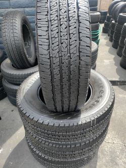 Set of 4 good used tires. LT275 /70 /R18. FIRESTONE TRANSFORCE  Thumbnail
