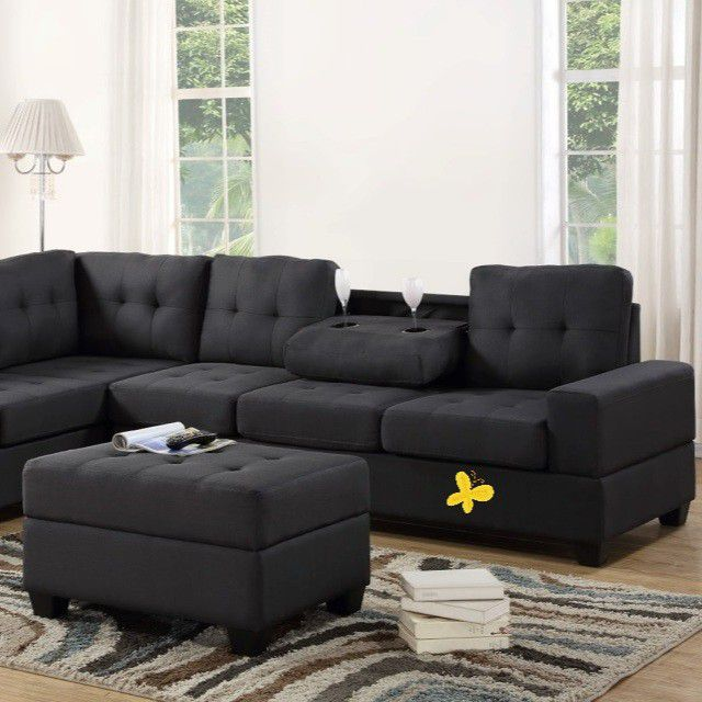 💕💕 SAME DAY and FAST DELIVERY 🚚🚚  BRAND NEW and IN BOX😍 Heights Gray Fabric Reversible Sectional With Storage Ottoman