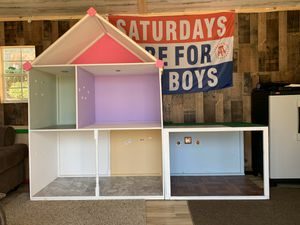 "Photo Doll House for 18"" dolls. Approximately 70"" tall and 60"" wide. Was built to house American Girl Dolls but can accommodate any sized doll."