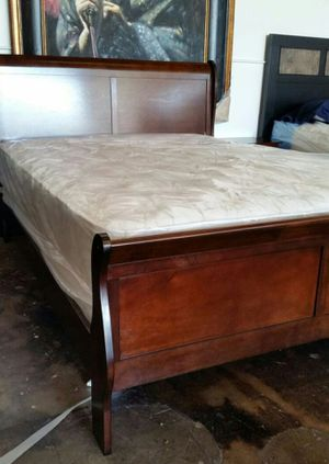 Brand New Queen Size Cherry Wood Sleigh Bed Frame ONLY for Sale in Silver Spring, MD
